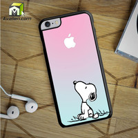 Snoopy Gradient Pink Mint Custome Apple Logo iPhone 6S Plus case by Avallen