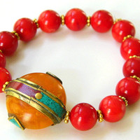 Red Stretch Bracelet, Tibetan Amber Bead, Turquoise, Red Bracelet, Gemstone Bracelet, Handcrafted Bracelet, Red Coral Bracelet, Statement