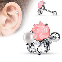 Fimo Flower and Imitation Pearl CZ Tragus Barbell 316L Surgical Steel Cartilage Bar Helix Piercing 16g