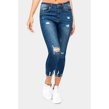 High Rise Destroyed Faded Skinny Jeans