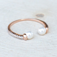 Double Pearl Band - Rose Gold