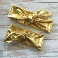 Metallic Gold Girls Top Knot Bow Head Wrap Baby Headwrap