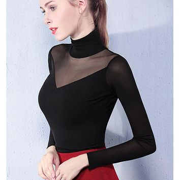 All-match Solid Color Bodycon Turtleneck Long Sleeve Women Perspective Gauze Tops