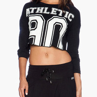 Black Graphic Print Long Sleeve Cropped Top