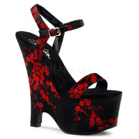 "Beau 607 CB Black Satin Cherry Blossom Upper Ankle Strap 6.5"" Wedge Sandal"