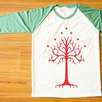 Red Tree T-Shirt Lord of The Rings T-Shirt Gondor T-Shirt Green Sleeve Tee Shirt Women Shirt Men Shirt Unisex Shirt Baseball Tee Shirt S,M,L