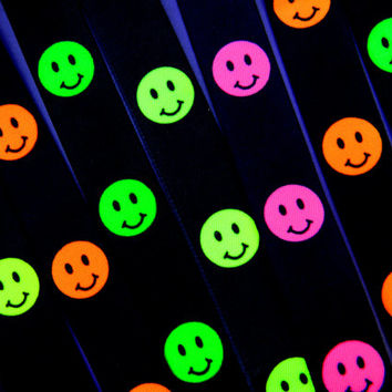 Vintage 90s NEON GREEN Acid Smiley Face Suspenders - Seapunk,Rave,90's Club Kid Fashion - s/m - NOS New Old Stock Sea Punk Accessory