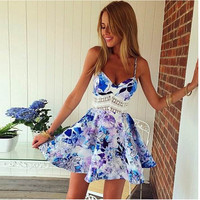 Floral Spaghetti Strap Lace Belted Mini Skater Dress