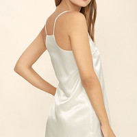 Heavenly Ascent Cream Satin Slip Dress