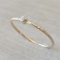 Tiny Gold Ring, Moissanite Ring, Delicate Gold Ring, Stackable Ring, Engagement Ring, Thin Gold Ring, White Gold Ring, Yellow Gold Ring