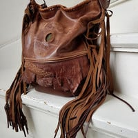 Distressed brown leather bag with the eagle bird fringed hobo fringe purse bohemian african handbag distressed raw festival free people