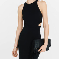 Ribbed Crew Neck Cut-out Mini Sheath Dress from EXPRESS