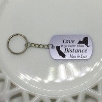 Love Keychain, Long Distance Friendship, Long Distance Relationship, State or Country, Custom Engraved Keychain, Deployment Keychain