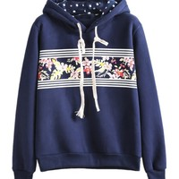 Sheinside® Women's Blue Hooded Long Sleeve Floral Loose Sweatshirt
