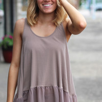 Ruffled Up Layering Tank {Mocha}