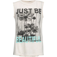 Full Tilt Just Be Beautiful Girls Tank Oatmeal  In Sizes