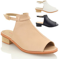 WOMENS BLOCK LOW HEEL FLAT CUT OUT PEEP TOE LADIES ANKLE STRAP SANDALS SHOES