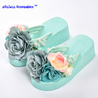 summer women flip flops mules clogs wedge flower sandals garden shoes handmade pearl slippers jelly color hawaiian beach sandals