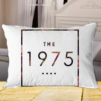 Logo The 1975 Floral on Rectangle Pillow Case