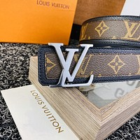 LV Louis Vuitton New fashion monogram print leather couple belt with box