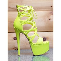 "Pachanga Neon Yellow Lace Up Platform Shoes  7"" Stiletto High Heel Size 9"