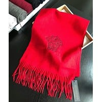 VERSACE Autumn Winter Hot Sale Popular Women Men Warmer Cashmere Cape Scarf Scarves Shawl Accessories Red