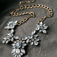 Butterfly Clear Jeweled Crystal Statement Necklace Jcrew Necklace Bib Necklace Chunky Bridesmaid Necklace Gift Anthropologie Necklace