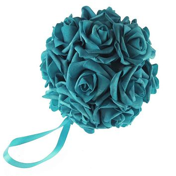 Soft Touch Flower Kissing Balls Wedding Centerpiece, 6-inch, Turquoise