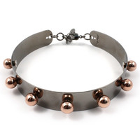 Modern Muse Small Neck Cuff W/ Spheres - Ruthenium/Rose Gold