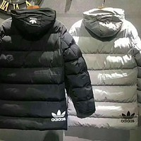 """Adidas"" Women Men Fashion Stripe Hooded Long Sleeve Zip Cardigan Cotton Clothes Coat I-A001-MYYD"