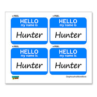 Hunter Hello My Name Is - Sheet of 4 Stickers