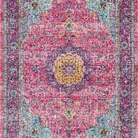 Traditional Persian Vintage Fancy Pink Rugs, 5 Feet by 7 Feet 5 Inches (5' x 7'5)