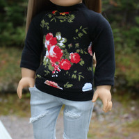 18 inch doll clothes,floral black baseball tee and grey ripped skinny jeans