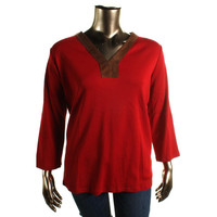 Lauren Ralph Lauren Womens Plus Ribbed Knit Faux Leather Trim Pullover Top