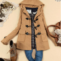 Sweety Womens Winter Duffle Coat Outwear Jacket Hooded Casual Solid Tops New S M