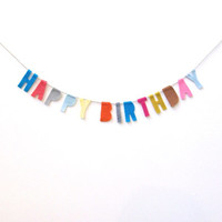 Funfetti Happy Birthday banner, petite funfetti party banner with electric blue, red, pink, grey, brown, baby blue