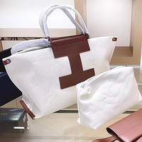 Inseva Hermes Popular Women Leather Canvas Handbag Tote Shoulder Bag Purse Wallet Set Two-Piece