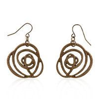 Bronze Textured Filigree Floral Earrings