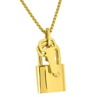 Lock and Key Pendant Chain Set 18k Yellow Gold Finish