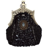 MG Collection Antique Victorian Brooch Beaded Clasp Clutch Evening Purse