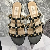 Valentino Fashion Women Rivet Slippers Sandals Shoes Black
