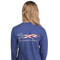 Long Sleeve Faded Flag Longshanks Tee Shirt in Soft Navy by Country Club Prep