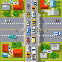 City top view with cars, pedestrians, trees and houses