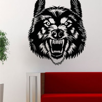 Wolf Face Animal Design Decal Sticker Wall Vinyl Art Home Room Decor
