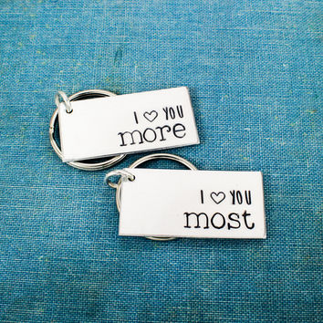I Love You More | I Love You Most Keychain Set - Couples Accessories - Aluminum Key Chains