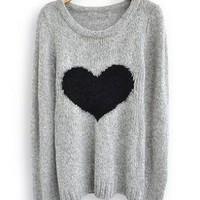 Light Grey Love Heart Long Sleeve Sweater