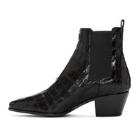 Black Croc-Embossed Rock Boots