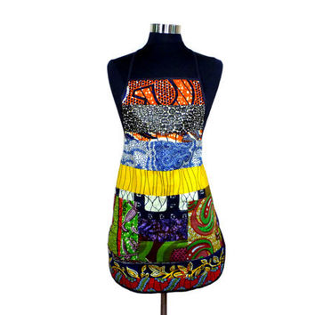 Colorful Ghanaian Patchwork Apron with Pockets - African Wax Print