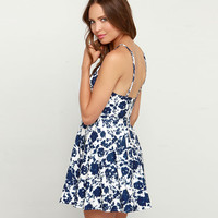 Blue Floral Spaghetti Strap Mini Dress with Back Zip Up