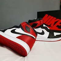 inseva NIKE AIR JORDAN 1 High Retro Black Toe Popular Women Men Sport Basketball Shoes
